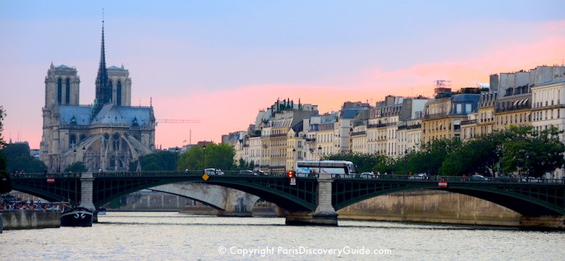 4th Arrondissement Paris landmark: Notre Dame Cathedral, across from 17th and 18th century mansions on Île Saint-Louis