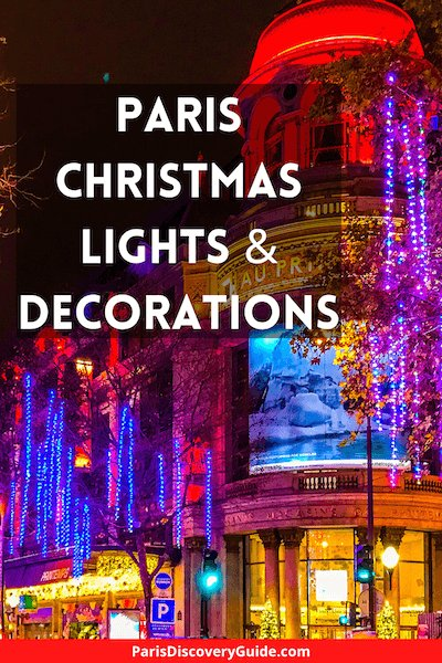 Paris Christmas lights along Boulevard Haussmann near Au Printemps department store