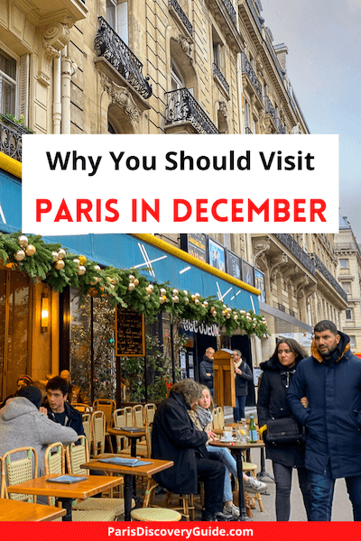 Holiday decorations at cafe in Paris's Saint Germain des Prés neighborhood