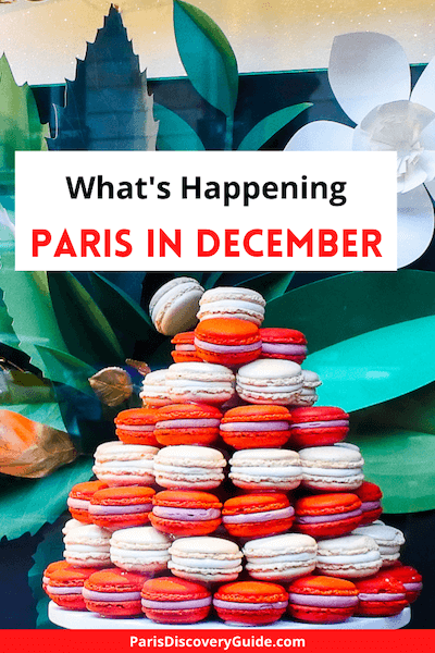 Macaroon tree in a bakery window near the Paris Opera House in December