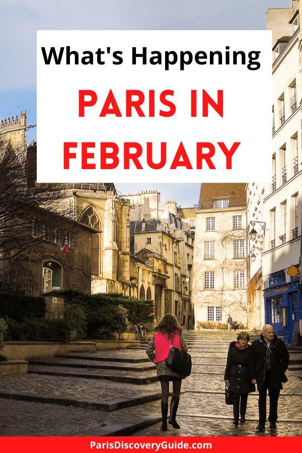 Quiet street in the Marais neighborhood in Paris in February